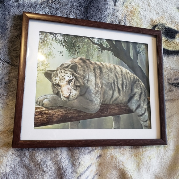 🥳buy1get1free🥳Lazy tiger framed art portrait